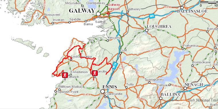 Map Of The Burren Ireland.Walking Holidays In Ireland Burren Way 7 Day